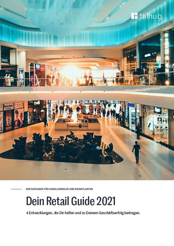 Titelbild vom Retail Guide 2021 mit Innenansicht eines Einkaufszentrums bei Sonnenuntergang